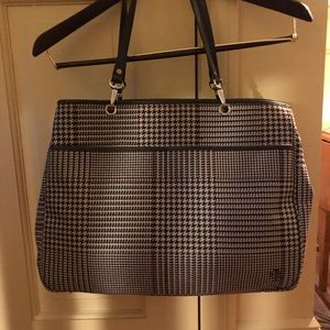 Ralph Lauren Leather & Houndstooth Fabric Tote